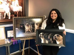 client with pug pet portraits framed on masonite as composite photos
