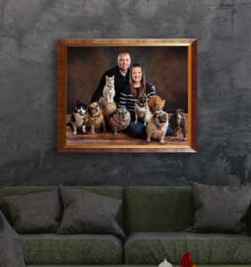 family pet portrait hung in home mockup wooden frame small animals cats pugs
