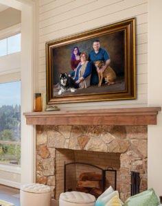 family pet portrait mockup hung in home over fireplace gold frame husky dog